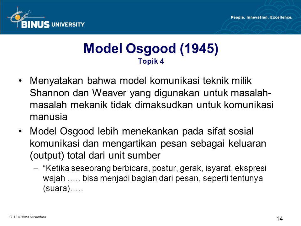 17.12.07Bina Nusantara 13 Model Laswell (1948) Topik 4 Sumbangan pemikiran Laswell dalam kajian teori komunikasi massa adalah identifikasi terhadap fu