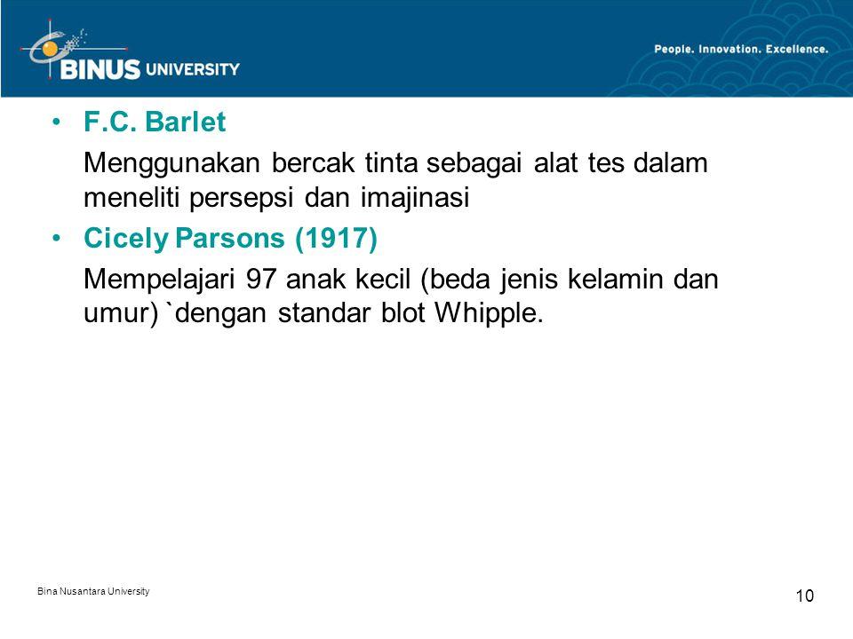 Bina Nusantara University 10 F.C. Barlet Menggunakan bercak tinta sebagai alat tes dalam meneliti persepsi dan imajinasi Cicely Parsons (1917) Mempela