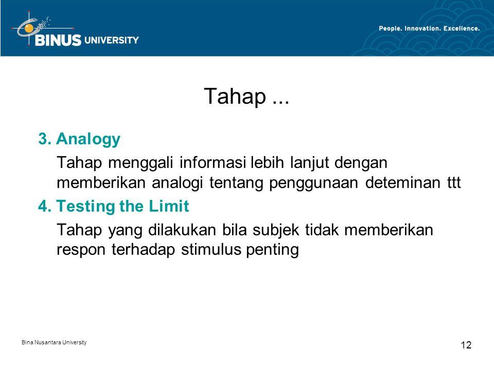 Bina Nusantara University 12 Tahap... 3. Analogy Tahap menggali informasi lebih lanjut dengan memberikan analogi tentang penggunaan deteminan ttt 4. T