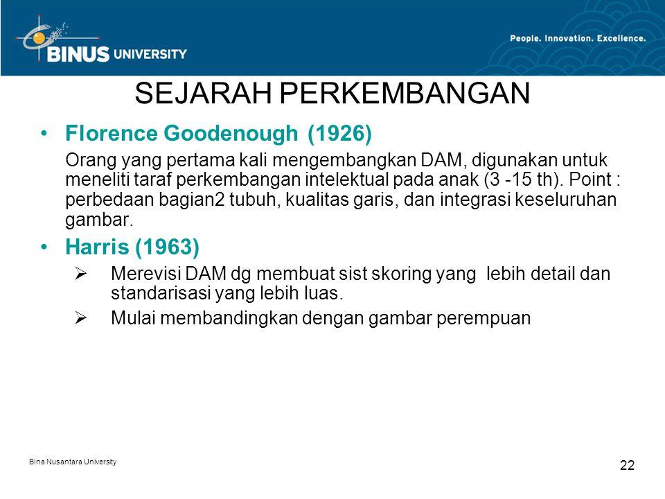 Bina Nusantara University 22 SEJARAH PERKEMBANGAN Florence Goodenough (1926) Orang yang pertama kali mengembangkan DAM, digunakan untuk meneliti taraf perkembangan intelektual pada anak (3 -15 th).