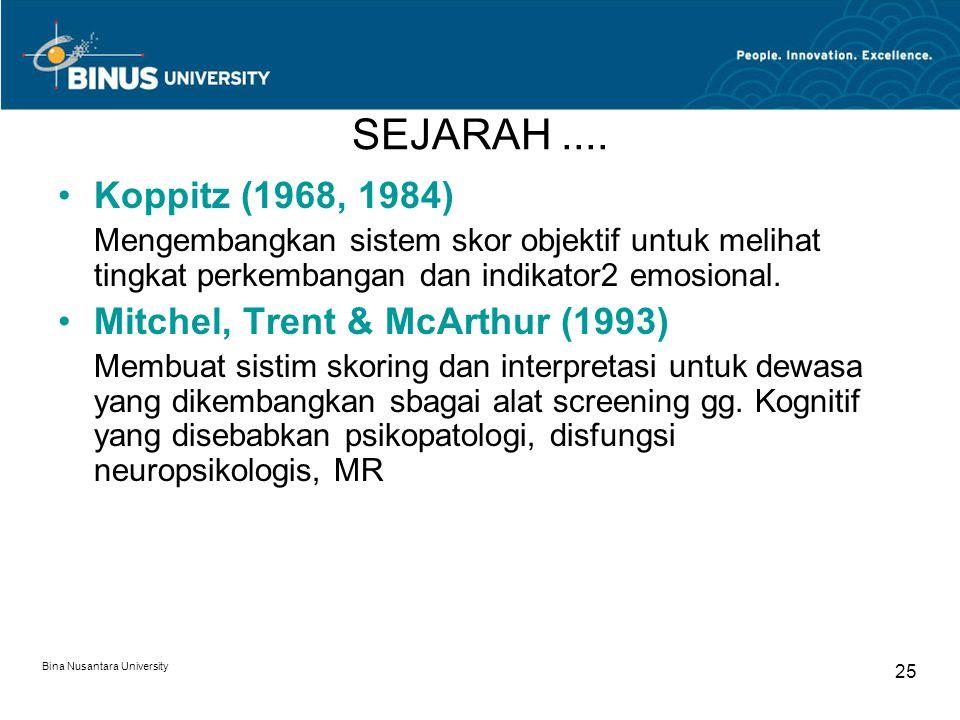 Bina Nusantara University 25 SEJARAH.... Koppitz (1968, 1984) Mengembangkan sistem skor objektif untuk melihat tingkat perkembangan dan indikator2 emo