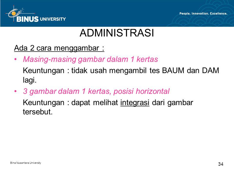 Bina Nusantara University 34 ADMINISTRASI Ada 2 cara menggambar : Masing-masing gambar dalam 1 kertas Keuntungan : tidak usah mengambil tes BAUM dan DAM lagi.