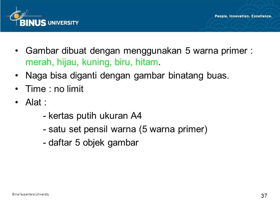 Bina Nusantara University 37 Gambar dibuat dengan menggunakan 5 warna primer : merah, hijau, kuning, biru, hitam. Naga bisa diganti dengan gambar bina