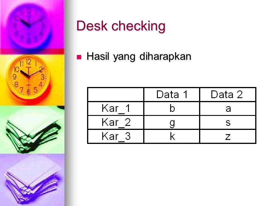 Desk checking Hasil yang diharapkan Hasil yang diharapkan
