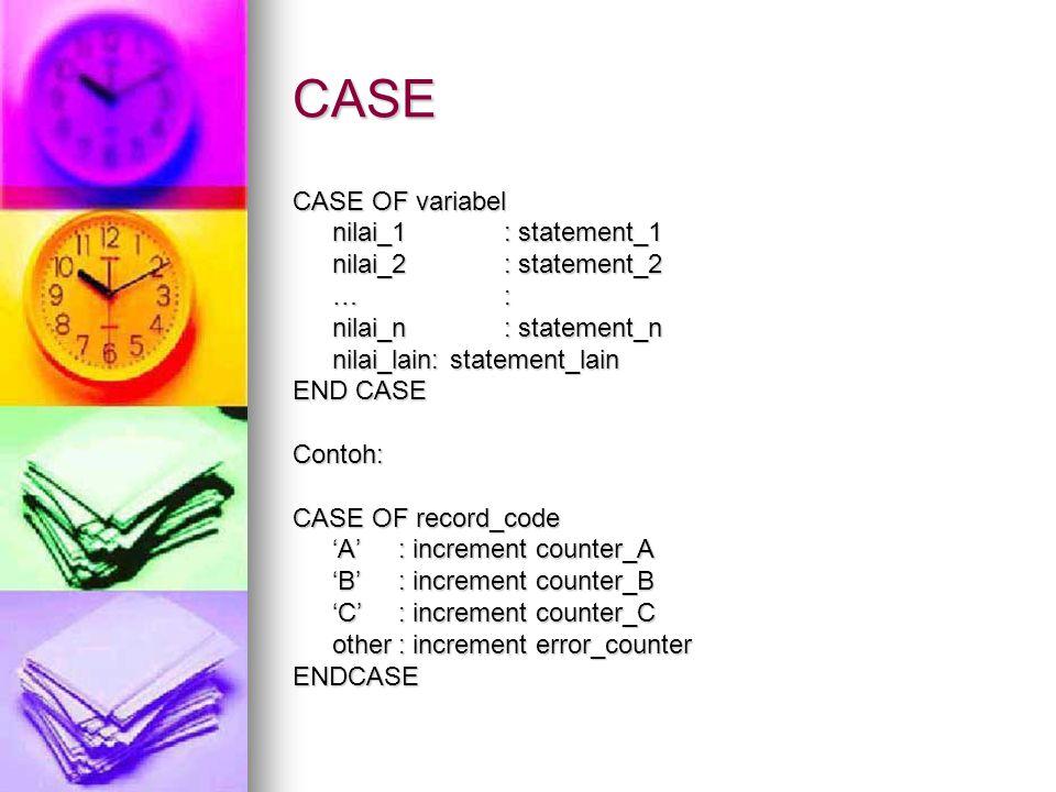 CASE CASE OF variabel nilai_1: statement_1 nilai_2: statement_2 nilai_2: statement_2 …: …: nilai_n: statement_n nilai_lain: statement_lain END CASE Co