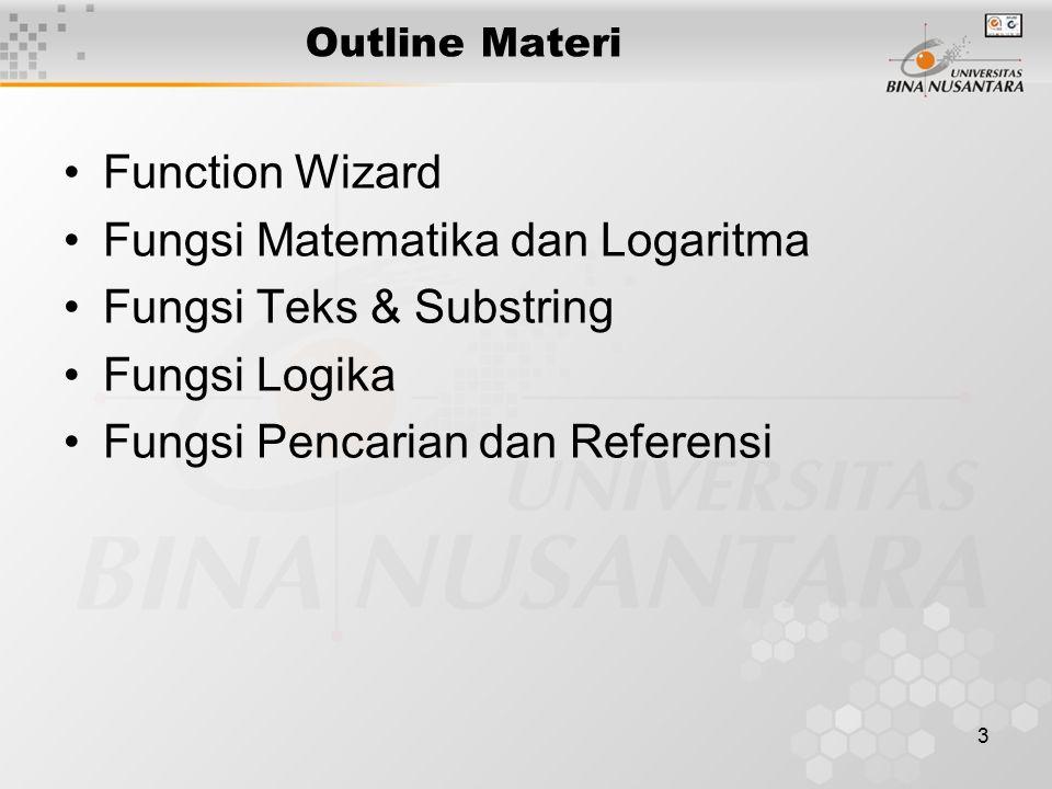 3 Outline Materi Function Wizard Fungsi Matematika dan Logaritma Fungsi Teks & Substring Fungsi Logika Fungsi Pencarian dan Referensi