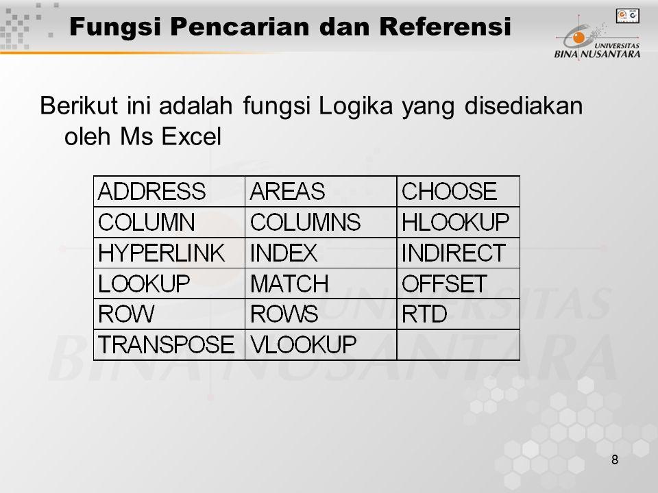 8 Fungsi Pencarian dan Referensi Berikut ini adalah fungsi Logika yang disediakan oleh Ms Excel