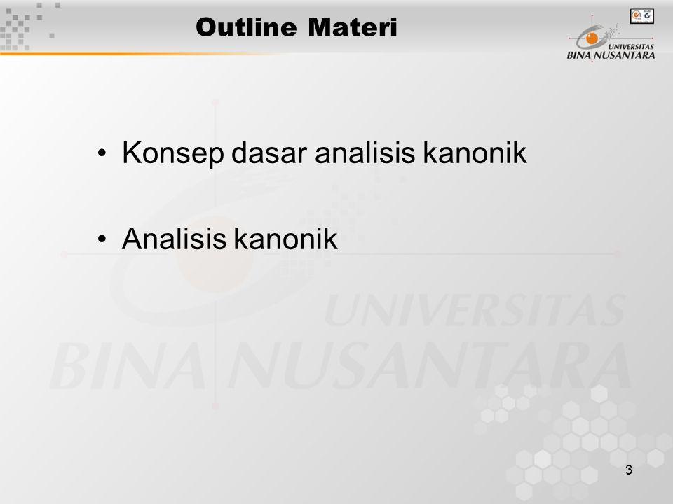 3 Outline Materi Konsep dasar analisis kanonik Analisis kanonik