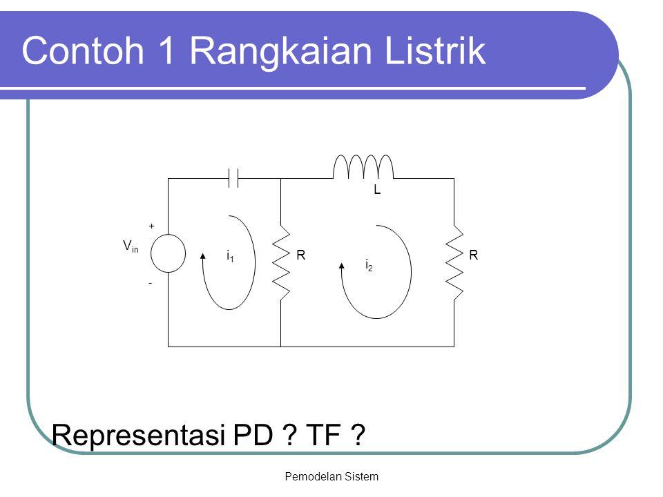 Pemodelan Sistem Contoh 1 Rangkaian Listrik Representasi PD ? TF ? V in + - L RRi1i1 i2i2