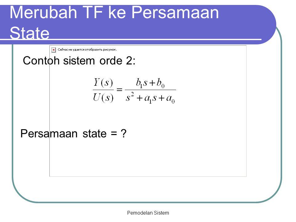 Pemodelan Sistem Merubah TF ke Persamaan State Contoh sistem orde 2: Persamaan state = ?