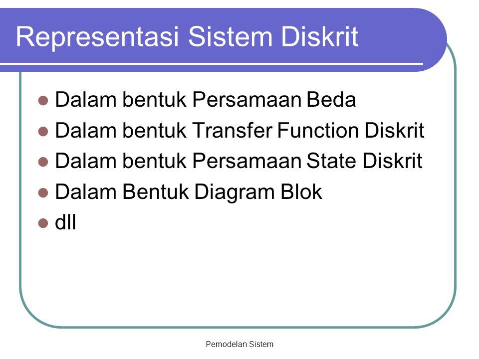Pemodelan Sistem Representasi Sistem Diskrit Dalam bentuk Persamaan Beda Dalam bentuk Transfer Function Diskrit Dalam bentuk Persamaan State Diskrit D