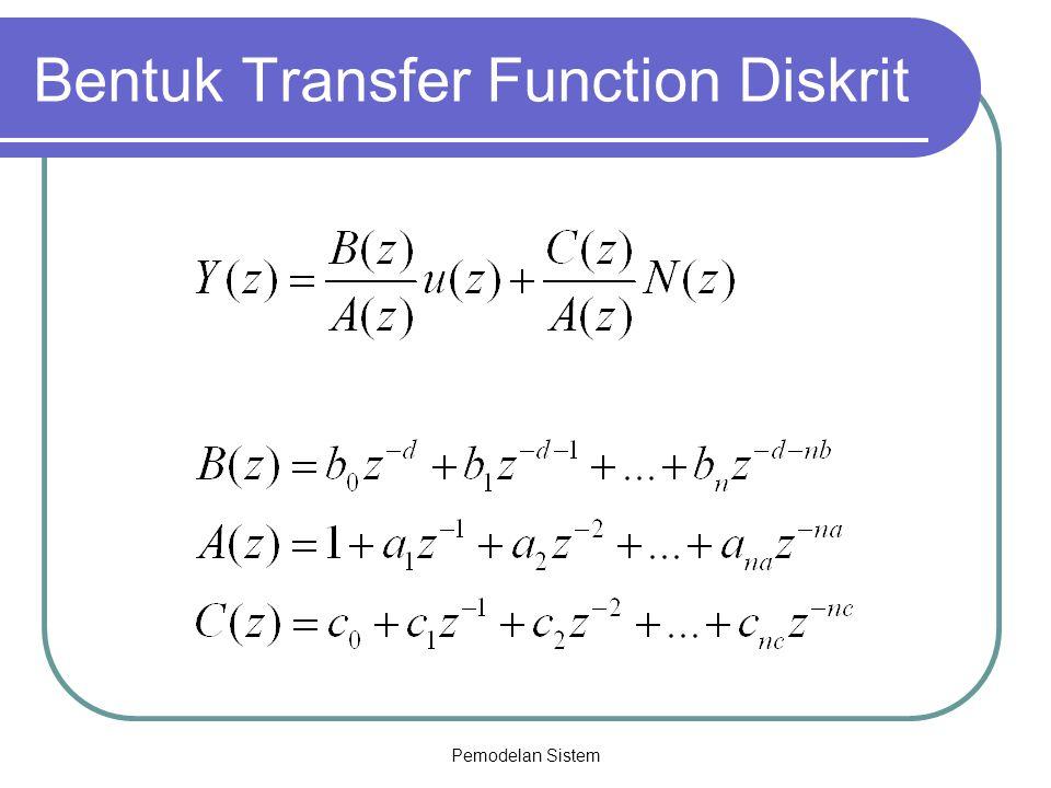 Pemodelan Sistem Bentuk Transfer Function Diskrit
