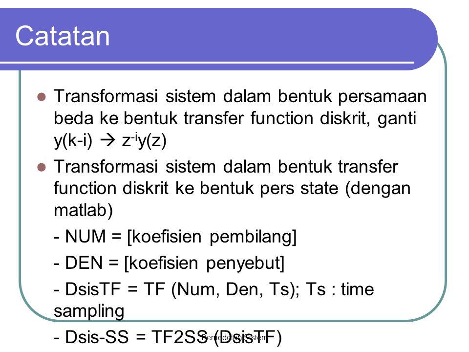 Pemodelan Sistem Catatan Transformasi sistem dalam bentuk persamaan beda ke bentuk transfer function diskrit, ganti y(k-i)  z -i y(z) Transformasi si