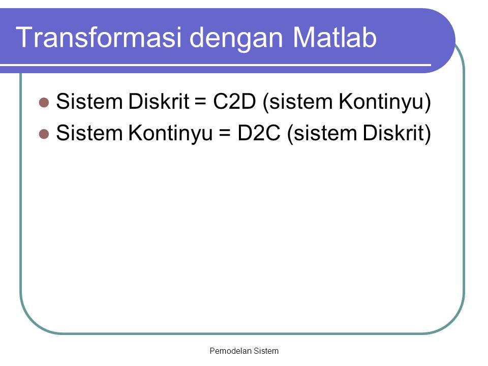 Pemodelan Sistem Transformasi dengan Matlab Sistem Diskrit = C2D (sistem Kontinyu) Sistem Kontinyu = D2C (sistem Diskrit)