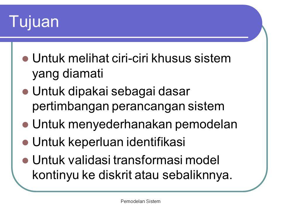 Pemodelan Sistem Tujuan Untuk melihat ciri-ciri khusus sistem yang diamati Untuk dipakai sebagai dasar pertimbangan perancangan sistem Untuk menyederh