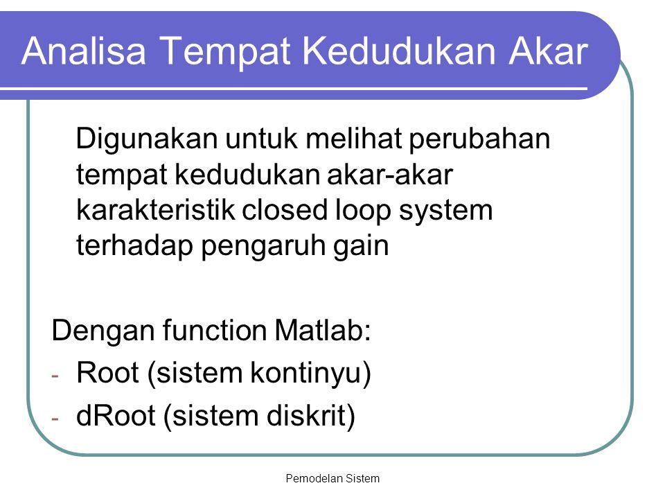 Pemodelan Sistem Analisa Tempat Kedudukan Akar Digunakan untuk melihat perubahan tempat kedudukan akar-akar karakteristik closed loop system terhadap