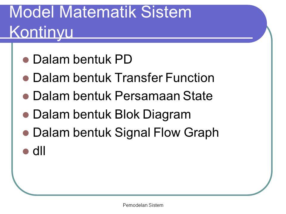 Pemodelan Sistem Model Matematik Sistem Kontinyu Dalam bentuk PD Dalam bentuk Transfer Function Dalam bentuk Persamaan State Dalam bentuk Blok Diagram