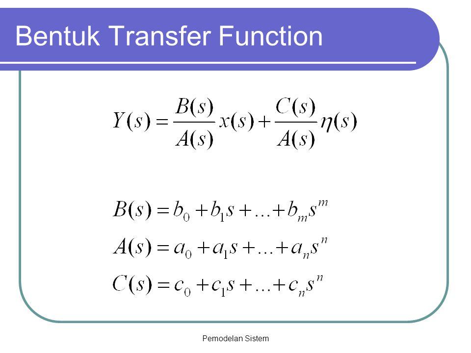 Pemodelan Sistem Catatan Transformasi sistem dalam bentuk persamaan beda ke bentuk transfer function diskrit, ganti y(k-i)  z -i y(z) Transformasi sistem dalam bentuk transfer function diskrit ke bentuk pers state (dengan matlab) - NUM = [koefisien pembilang] - DEN = [koefisien penyebut] - DsisTF = TF (Num, Den, Ts); Ts : time sampling - Dsis-SS = TF2SS (DsisTF)