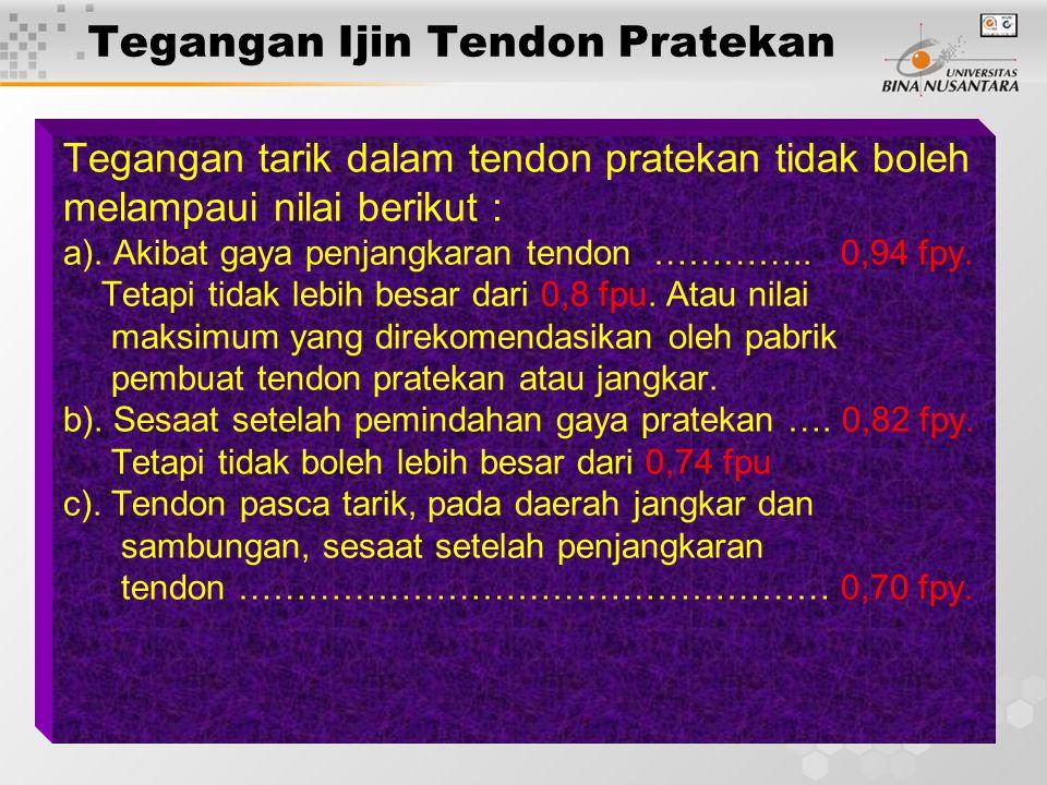 13 Tegangan Ijin Tendon Pratekan Tegangan tarik dalam tendon pratekan tidak boleh melampaui nilai berikut : a).