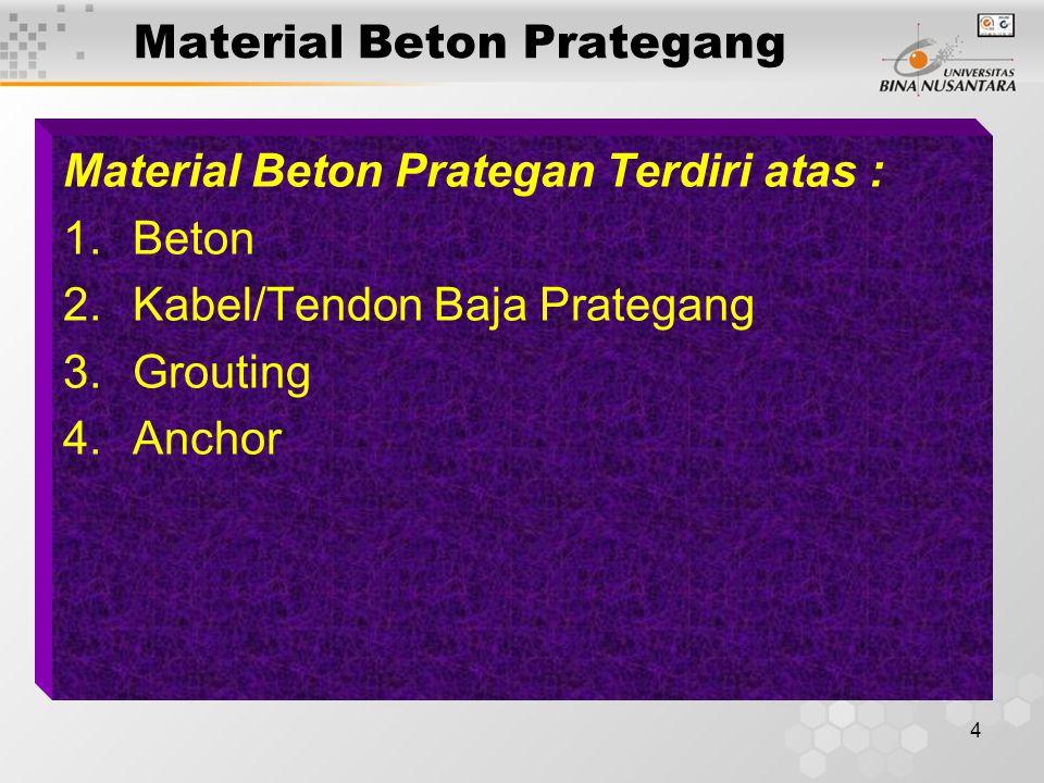 4 Material Beton Prategang Material Beton Prategan Terdiri atas : 1.Beton 2.Kabel/Tendon Baja Prategang 3.Grouting 4.Anchor