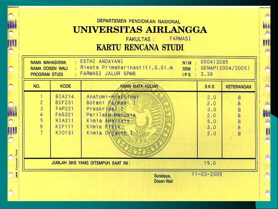Pada antar semester : - Program Remedial (pada akhir semester gasal/genap) - Semester Pendek (akhir semester genap) KHS : - IPS, menentukan jumlah sks
