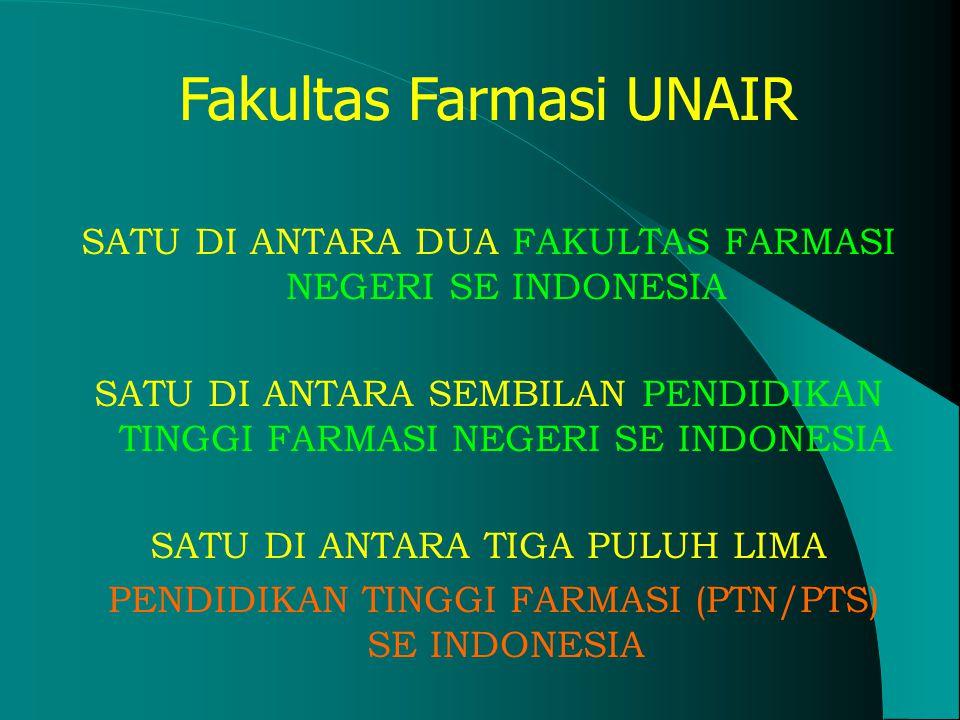 Fakultas Farmasi UNAIR SATU DI ANTARA DUA FAKULTAS FARMASI NEGERI SE INDONESIA SATU DI ANTARA SEMBILAN PENDIDIKAN TINGGI FARMASI NEGERI SE INDONESIA SATU DI ANTARA TIGA PULUH LIMA PENDIDIKAN TINGGI FARMASI (PTN/PTS) SE INDONESIA