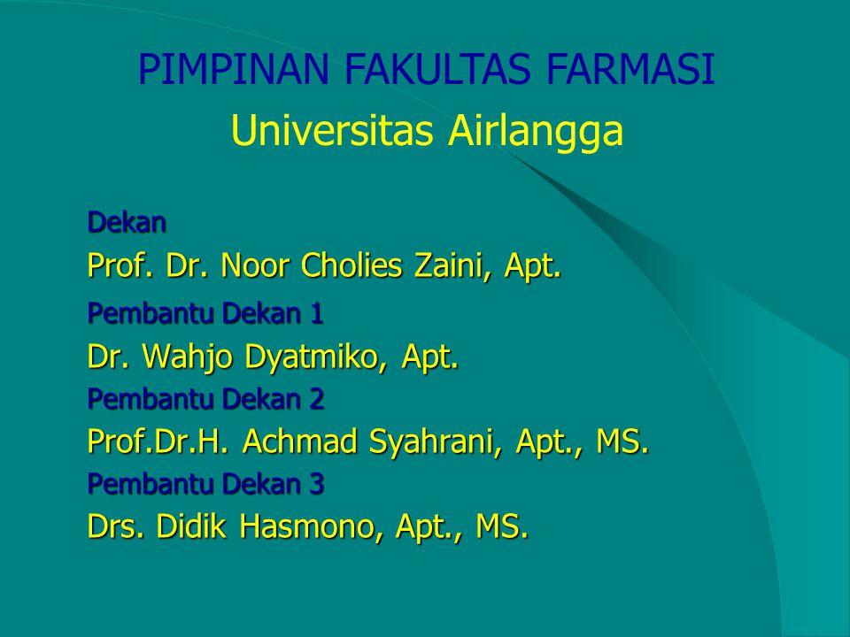 Tujuan Fakultas Farmasi Unair Menghasilkan lulusan yang mampu mengintegrasikan, melaksanakan, mengembangkan sains dan teknologi kefarmasian dan pelaya
