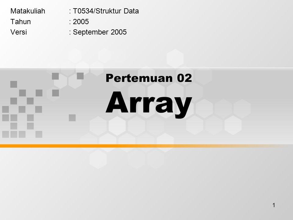 1 Pertemuan 02 Array Matakuliah: T0534/Struktur Data Tahun: 2005 Versi: September 2005