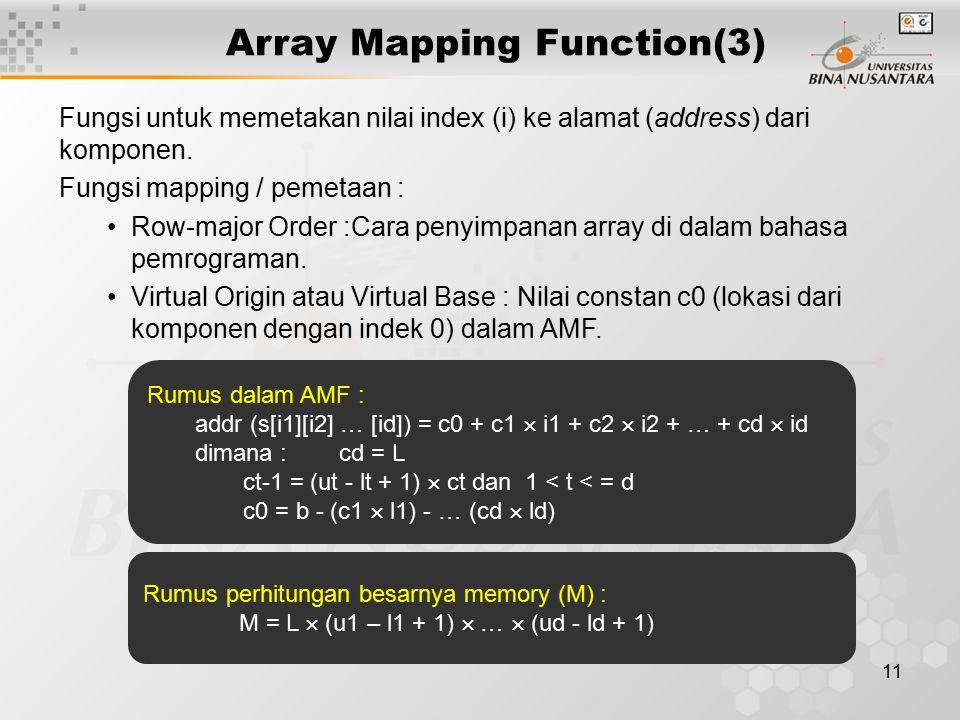 11 Array Mapping Function(3) Fungsi untuk memetakan nilai index (i) ke alamat (address) dari komponen. Fungsi mapping / pemetaan : Row-major Order :Ca