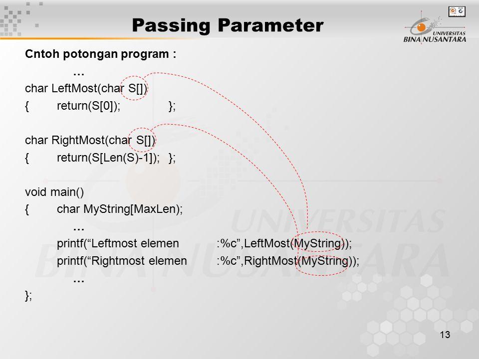 13 Passing Parameter Cntoh potongan program : … char LeftMost(char S[]) {return(S[0]);}; char RightMost(char S[]) {return(S[Len(S)-1]);}; void main()