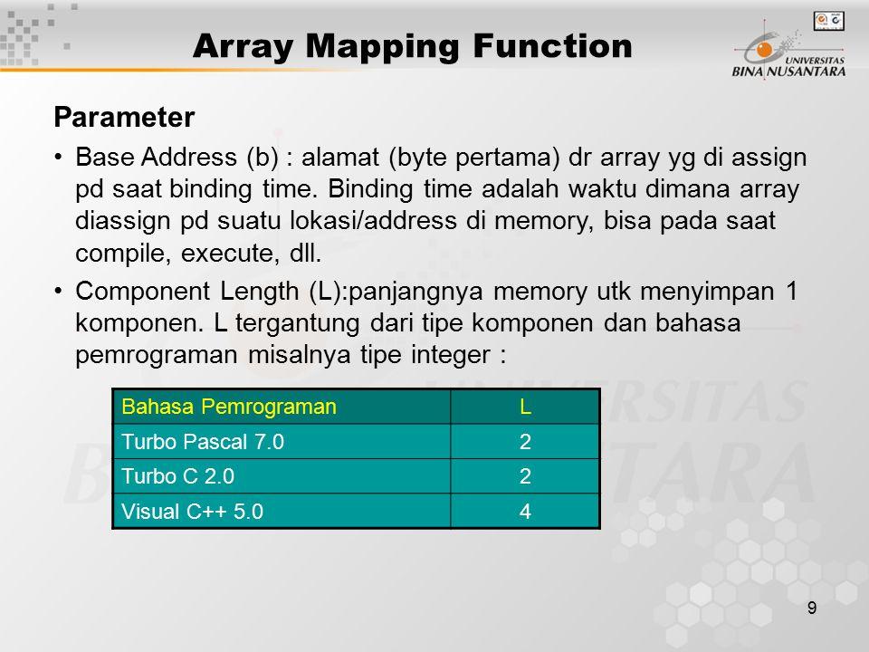 9 Array Mapping Function Parameter Base Address (b) : alamat (byte pertama) dr array yg di assign pd saat binding time. Binding time adalah waktu dima