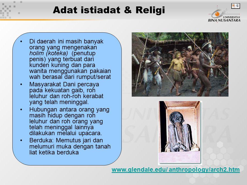 Adat istiadat & Religi Di daerah ini masih banyak orang yang mengenakan holim (koteka) (penutup penis) yang terbuat dari kunden kuning dan para wanita