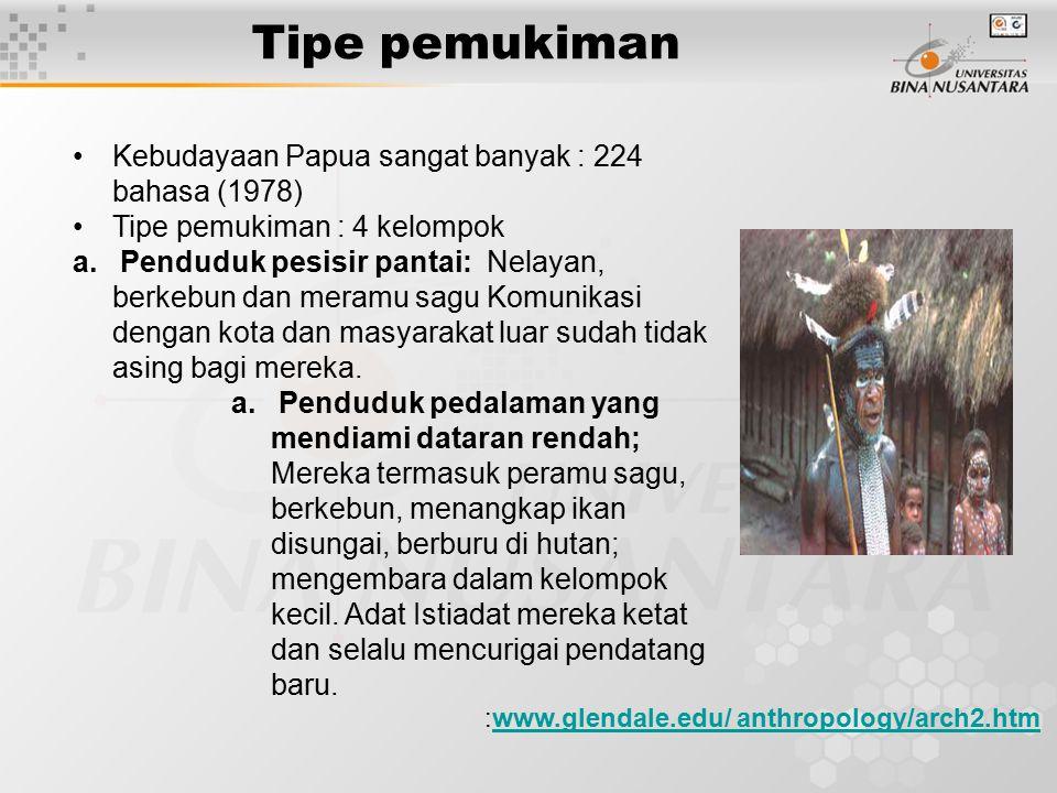 Tipe pemukiman :www.glendale.edu/ anthropology/arch2.htmwww.glendale.edu/ anthropology/arch2.htm Kebudayaan Papua sangat banyak : 224 bahasa (1978) Ti