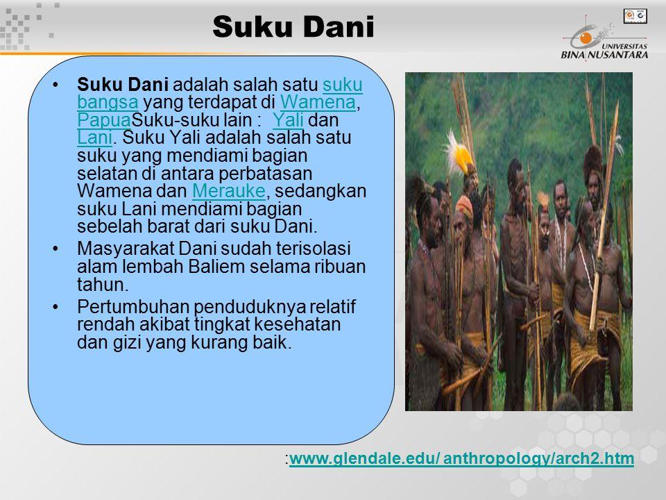 Suku Dani Suku Dani adalah salah satu suku bangsa yang terdapat di Wamena, PapuaSuku-suku lain : Yali dan Lani. Suku Yali adalah salah satu suku yang