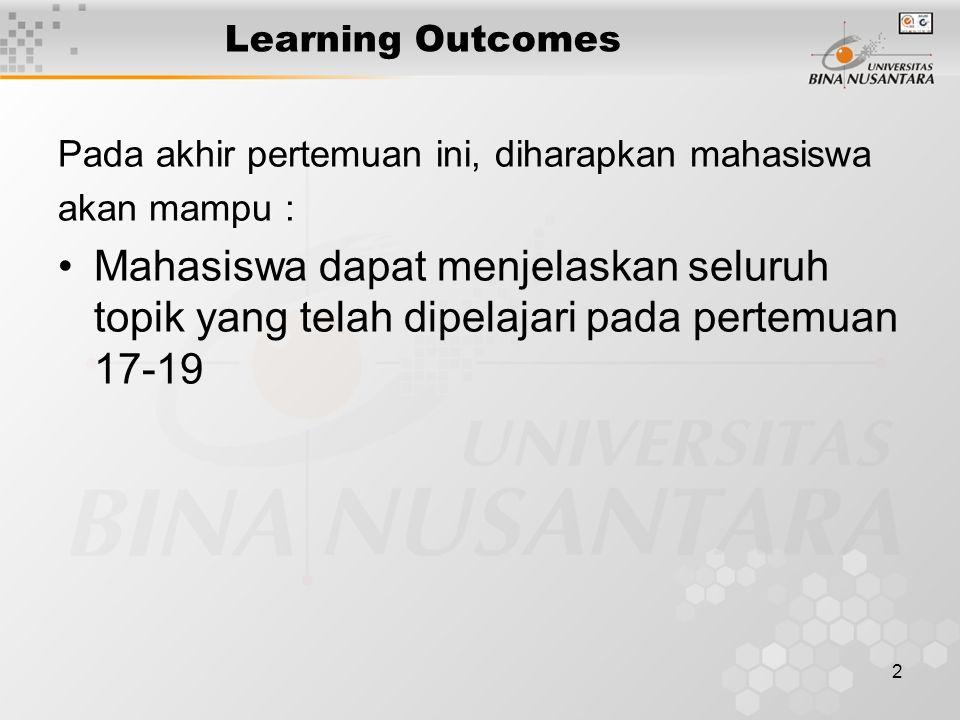 2 Learning Outcomes Pada akhir pertemuan ini, diharapkan mahasiswa akan mampu : Mahasiswa dapat menjelaskan seluruh topik yang telah dipelajari pada pertemuan 17-19