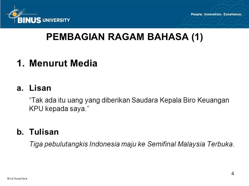 Bina Nusantara 2.Menurut Penutur a.Dialek Ente, punya duit kagak, Cup? b.Terpelajar Virus polio masih ditemukan di Propinsi Jawa Barat.