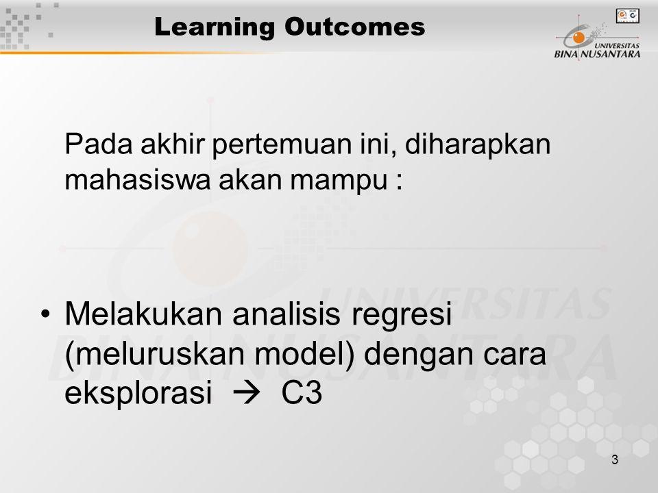 3 Learning Outcomes Pada akhir pertemuan ini, diharapkan mahasiswa akan mampu : Melakukan analisis regresi (meluruskan model) dengan cara eksplorasi  C3