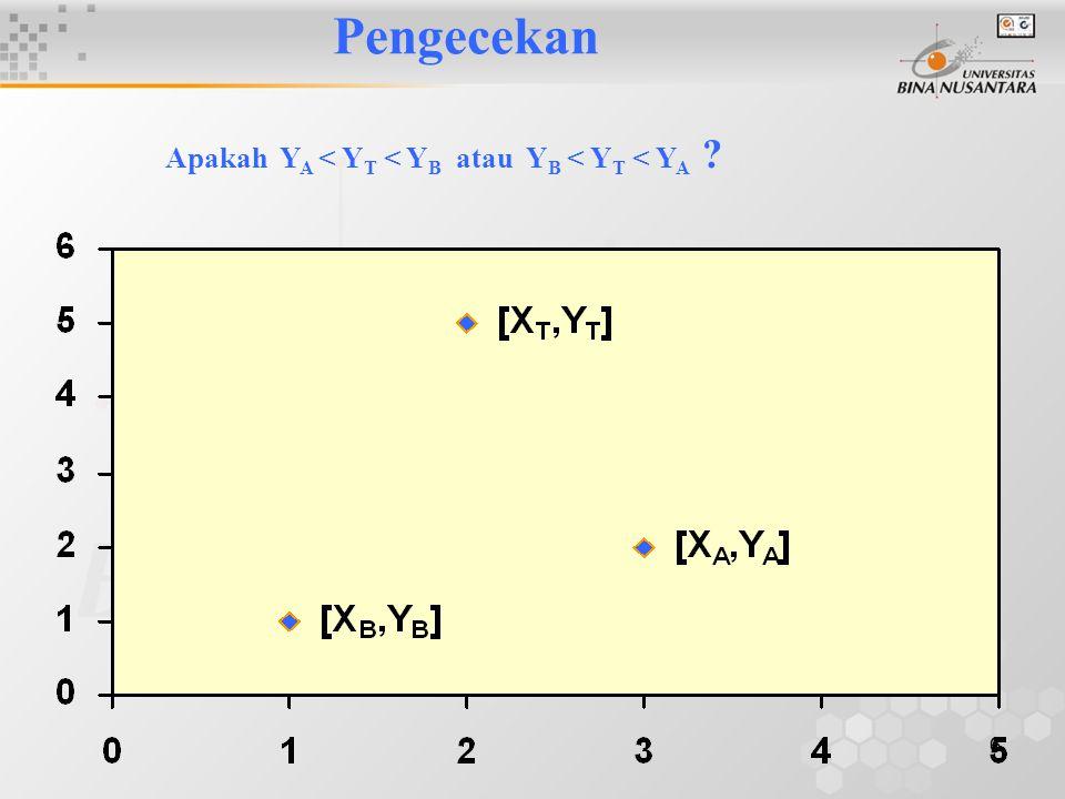 7 Perhitungan S = minimum (b BT,b AT )M = maksimum (bBT,bAT) N ≈ 1 (N mendekati 1) atau b BT ≈ b AT N ≈ 0 (N mendekati 0) dan b BT dan b AT bertanda sama N ≈ 0 (N mendekati 0) dan b BT dan b AT berbeda tanda Model linier baik digunakan Lakukan transformasi Tidak dibahas di sini