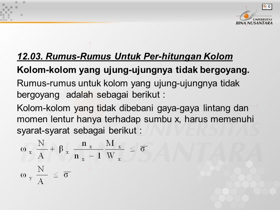 12.03.Rumus-Rumus Untuk Per-hitungan Kolom Kolom-kolom yang ujung-ujungnya tidak bergoyang.