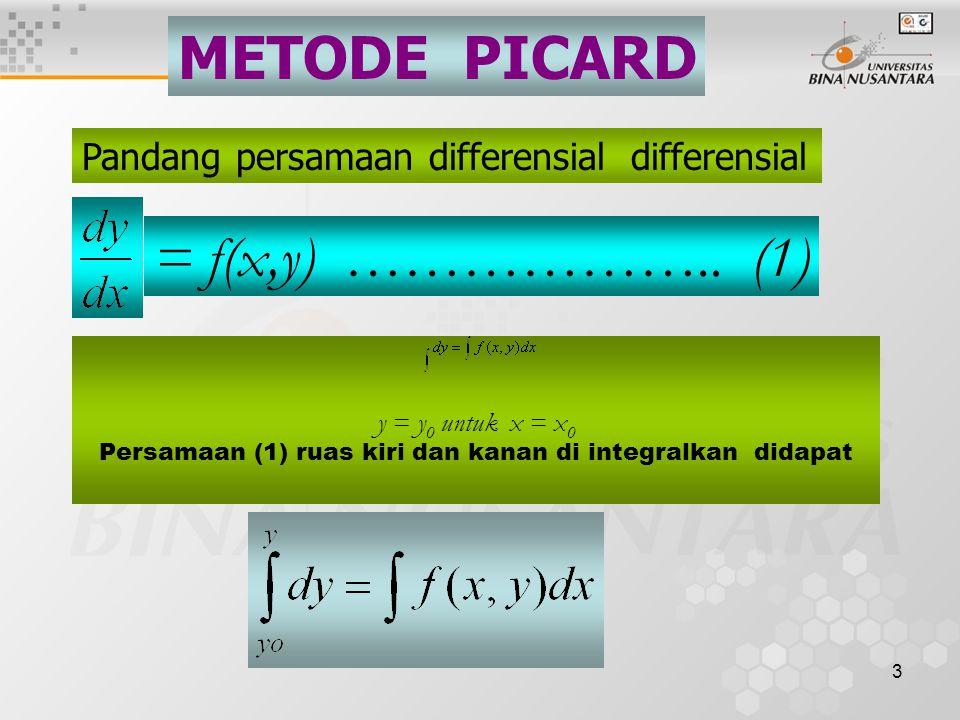3 METODE PICARD Pandang persamaan differensial differensial = f(x,y) ………………..