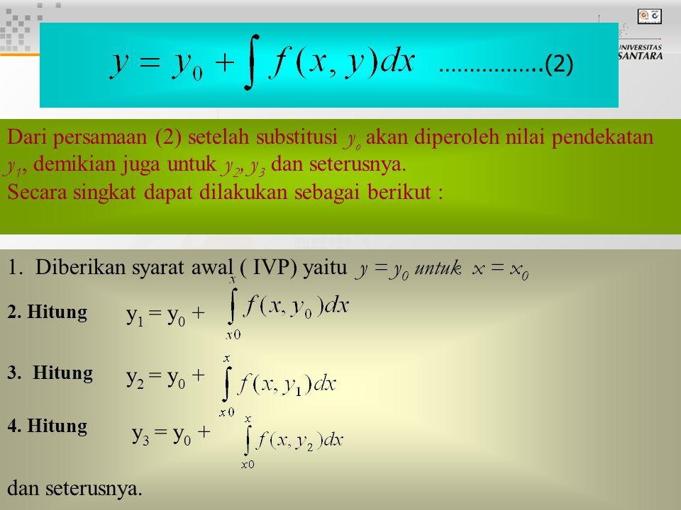 4 Dari persamaan (2) setelah substitusi y o akan diperoleh nilai pendekatan y 1, demikian juga untuk y 2, y 3 dan seterusnya.
