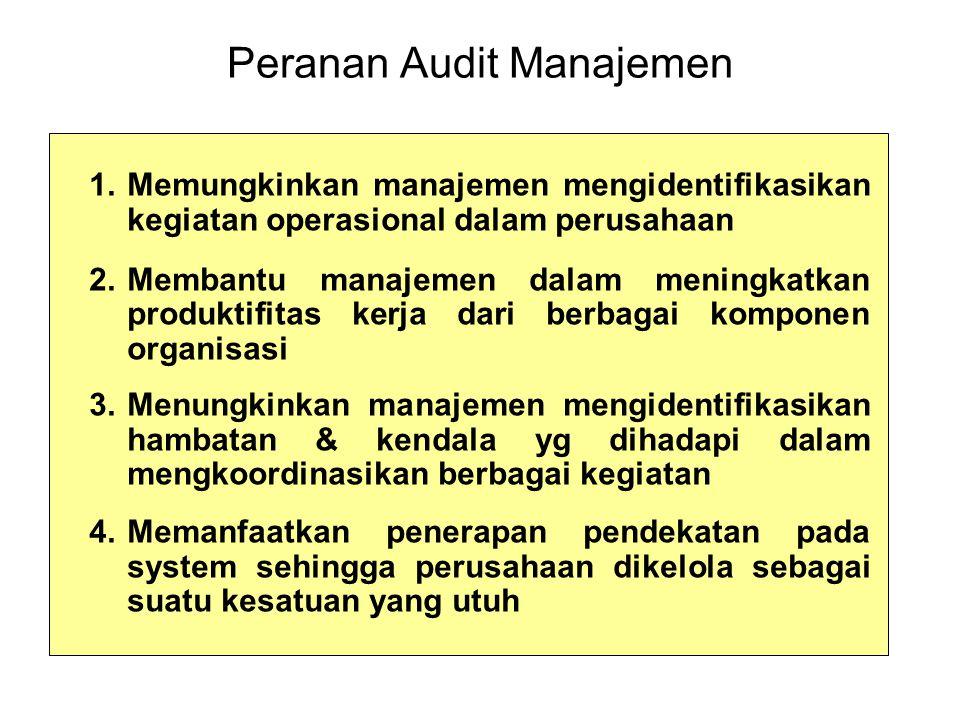 Peranan Audit Manajemen 1.Memungkinkan manajemen mengidentifikasikan kegiatan operasional dalam perusahaan 2.Membantu manajemen dalam meningkatkan produktifitas kerja dari berbagai komponen organisasi 3.Menungkinkan manajemen mengidentifikasikan hambatan & kendala yg dihadapi dalam mengkoordinasikan berbagai kegiatan 4.Memanfaatkan penerapan pendekatan pada system sehingga perusahaan dikelola sebagai suatu kesatuan yang utuh