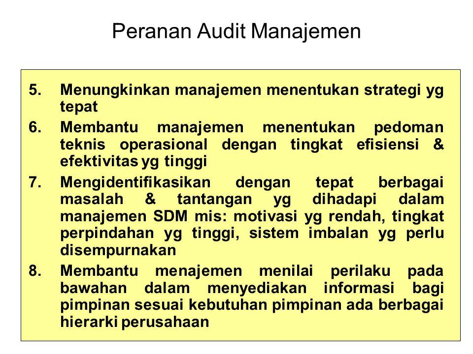 Peranan Audit Manajemen 5.Menungkinkan manajemen menentukan strategi yg tepat 6.Membantu manajemen menentukan pedoman teknis operasional dengan tingkat efisiensi & efektivitas yg tinggi 7.Mengidentifikasikan dengan tepat berbagai masalah & tantangan yg dihadapi dalam manajemen SDM mis: motivasi yg rendah, tingkat perpindahan yg tinggi, sistem imbalan yg perlu disempurnakan 8.Membantu menajemen menilai perilaku pada bawahan dalam menyediakan informasi bagi pimpinan sesuai kebutuhan pimpinan ada berbagai hierarki perusahaan