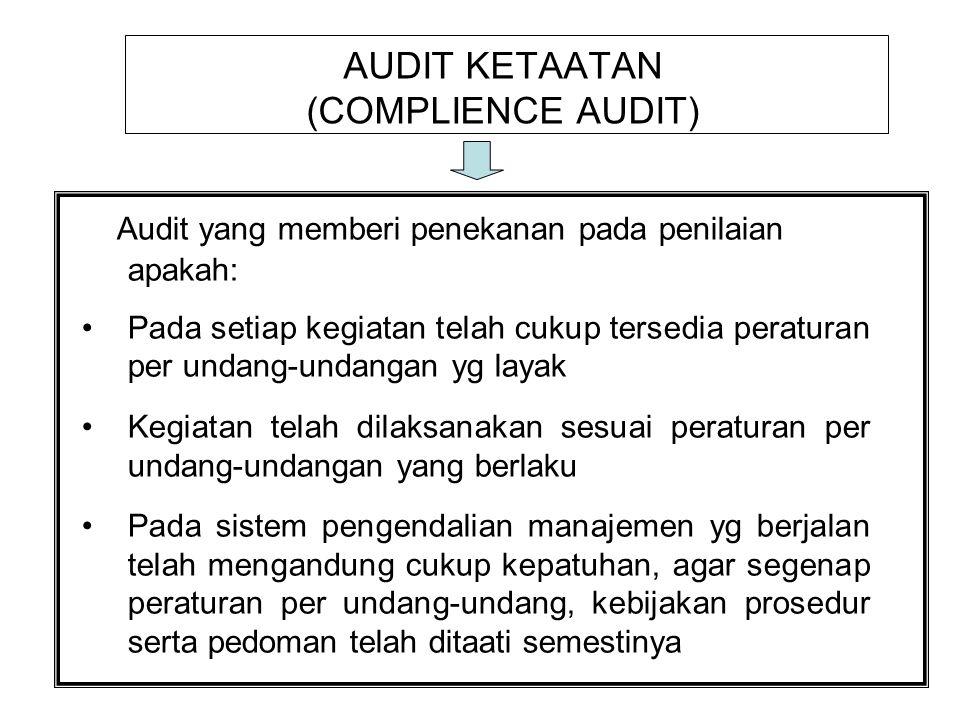 PERBEDAAN AUDIT MANAJEMEN DENGAN AUDIT KEUANGAN Audit KeuanganAudit Manajemen 1.Dari tujuan audit –Informasi keuangan historis –Kewajaran –Orientasi masa lalu -Efektivitas ekonomi dan efisiensi -Peningkatan kinerja yg akan datang -Kinerja operasi organisasi 2.Distribusi Laporan –Laporan bentuk baku –Untuk pihak intern & ekst 3.Bidang/Area –Bidang yg punya dampak Lap Keuangan –Laporan beragam –Hanya untuk intern –Bidang tertentu yg terkait aspek kinerja efisiensi & efektivitas operasional