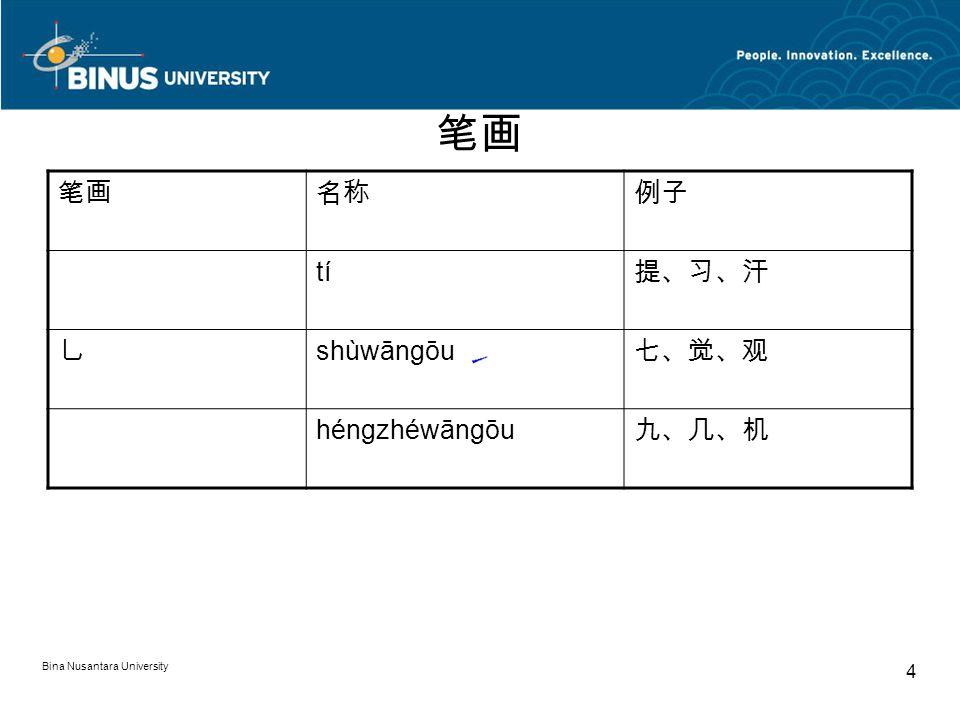 Bina Nusantara University 4 笔画 名称例子 tí 提、习、汗 乚 shùwāngōu 七、觉、观 héngzhéwāngōu 九、几、机