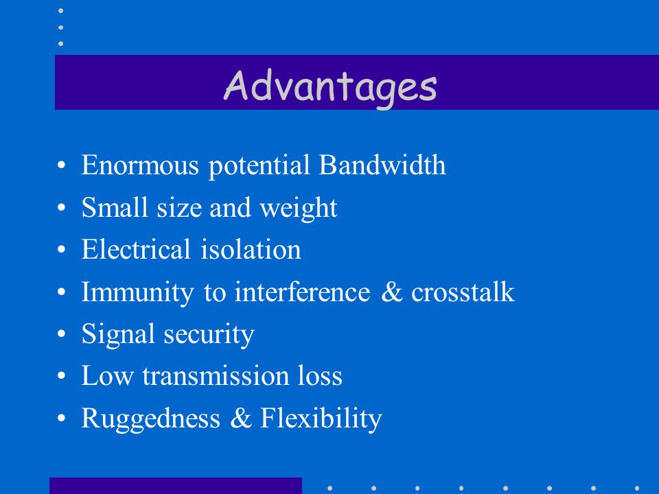 Advantages Enormous potential Bandwidth Small size and weight Electrical isolation Immunity to interference & crosstalk Signal security Low transmission loss Ruggedness & Flexibility