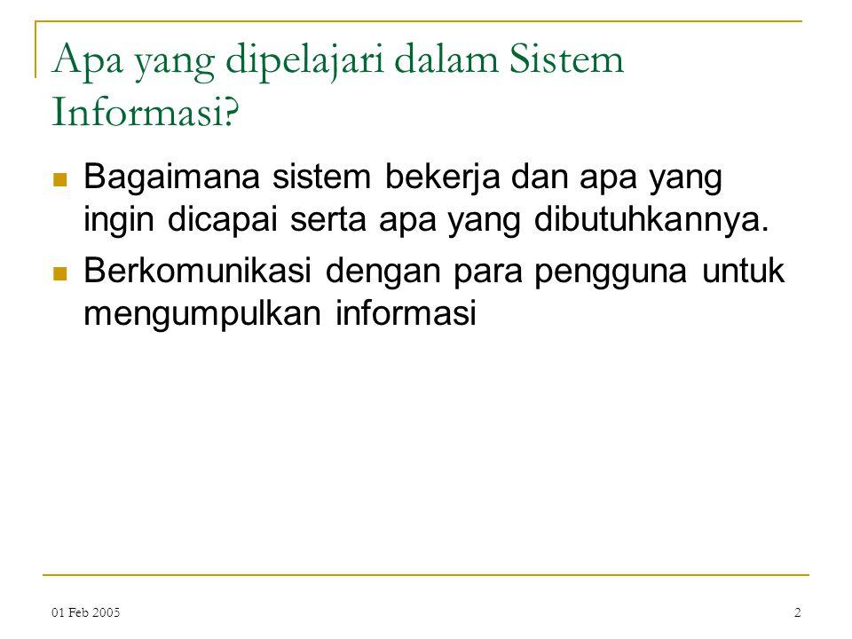 01 Feb 20052 Apa yang dipelajari dalam Sistem Informasi.