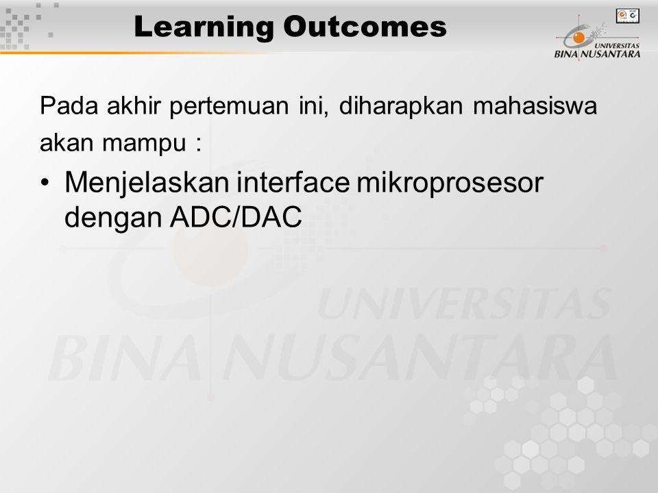 Interface Mikroprosesor dengan ADC/DAC Materi: Interface dengan DAC Interface dengan ADC
