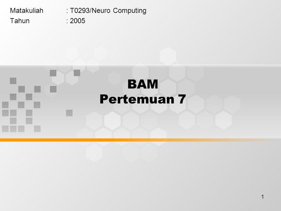 1 BAM Pertemuan 7 Matakuliah: T0293/Neuro Computing Tahun: 2005