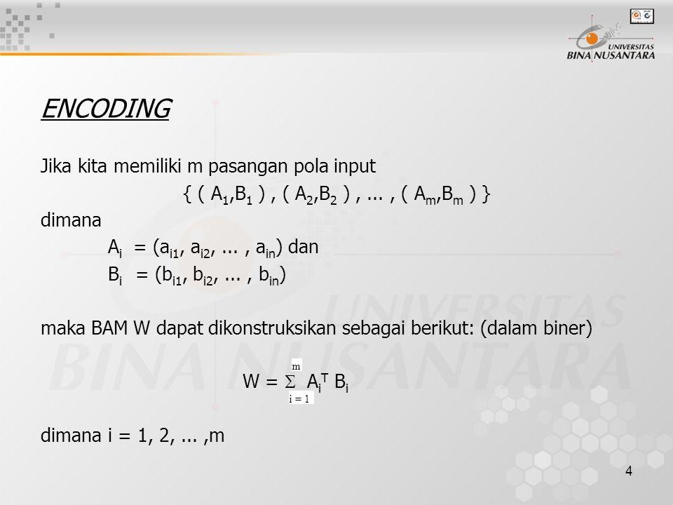 4 ENCODING Jika kita memiliki m pasangan pola input { ( A 1,B 1 ), ( A 2,B 2 ),..., ( A m,B m ) } dimana A i = (a i1, a i2,..., a in ) dan B i = (b i1, b i2,..., b in ) maka BAM W dapat dikonstruksikan sebagai berikut: (dalam biner) W =  A i T B i dimanai = 1, 2,...,m i = 1 m